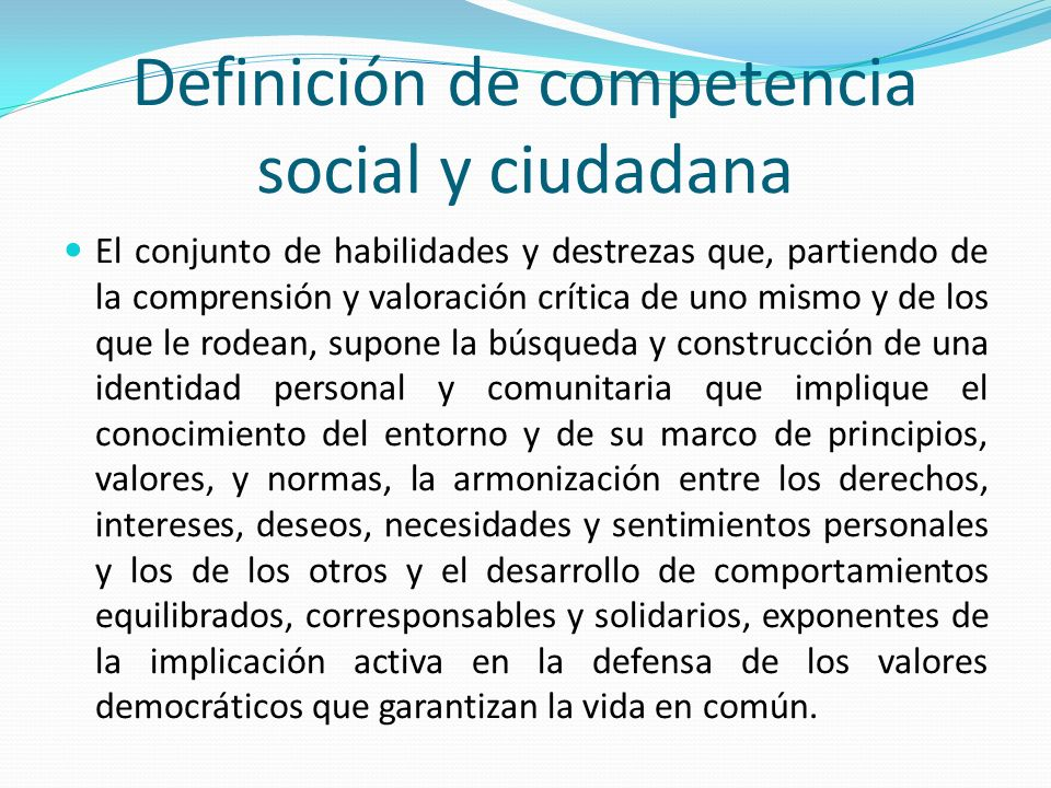 Definición de competencia social y ciudadana