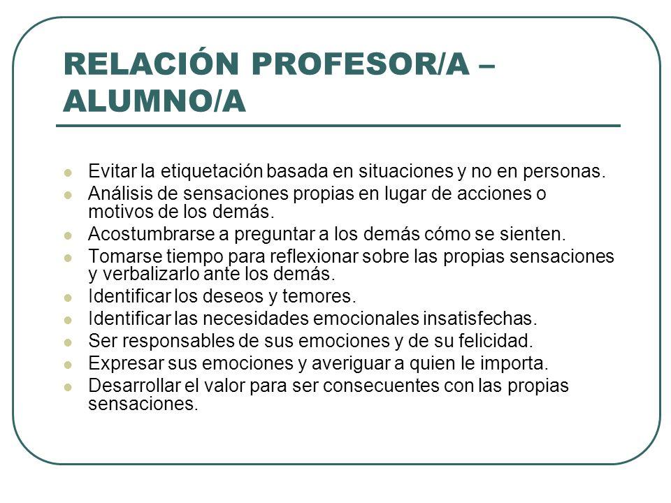 RELACIÓN PROFESOR/A – ALUMNO/A