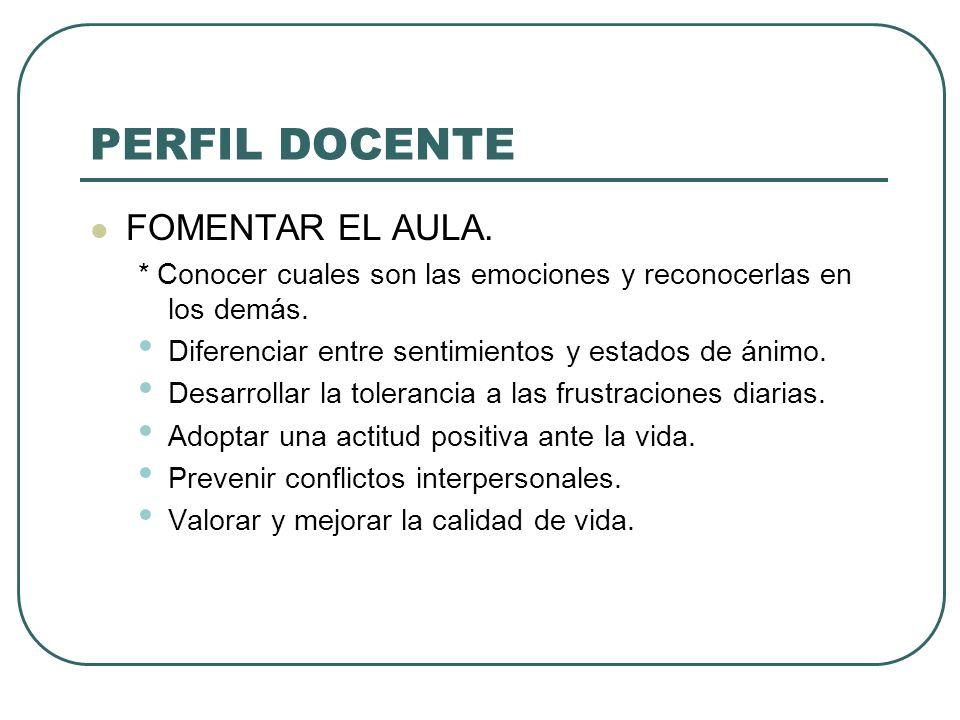 PERFIL DOCENTE FOMENTAR EL AULA.