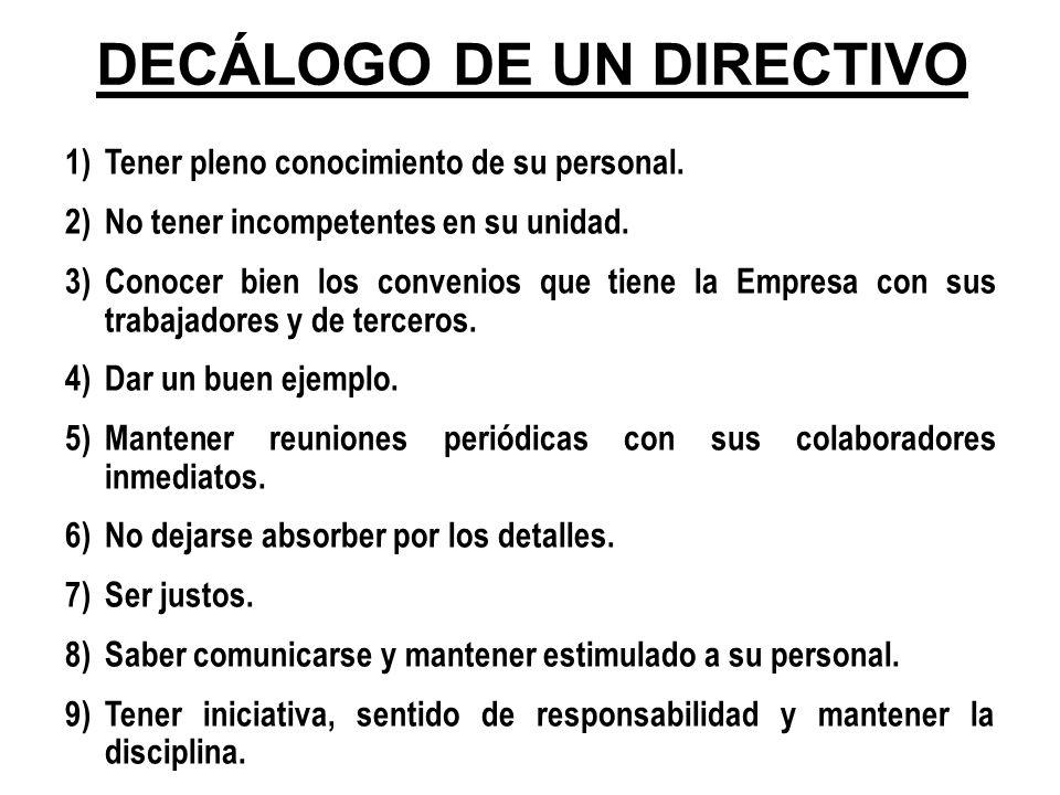 DECÁLOGO DE UN DIRECTIVO