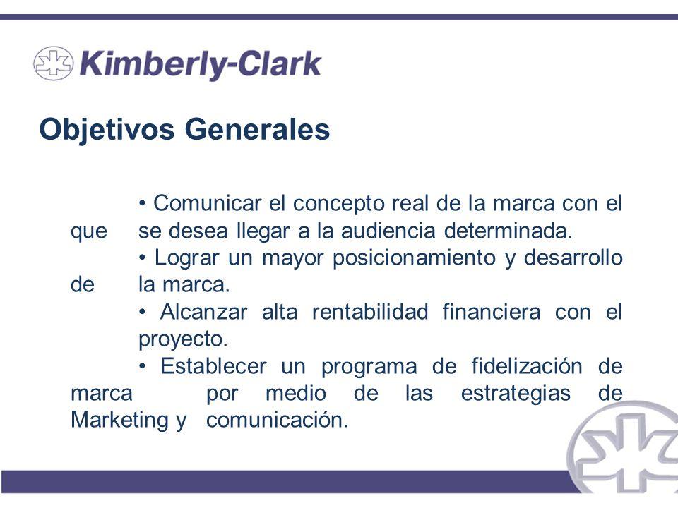 Objetivos Generales • Comunicar el concepto real de la marca con el que se desea llegar a la audiencia determinada.