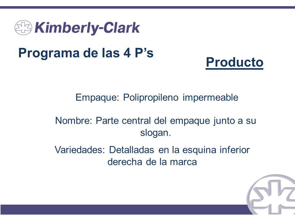 Programa de las 4 P's Producto Empaque: Polipropileno impermeable