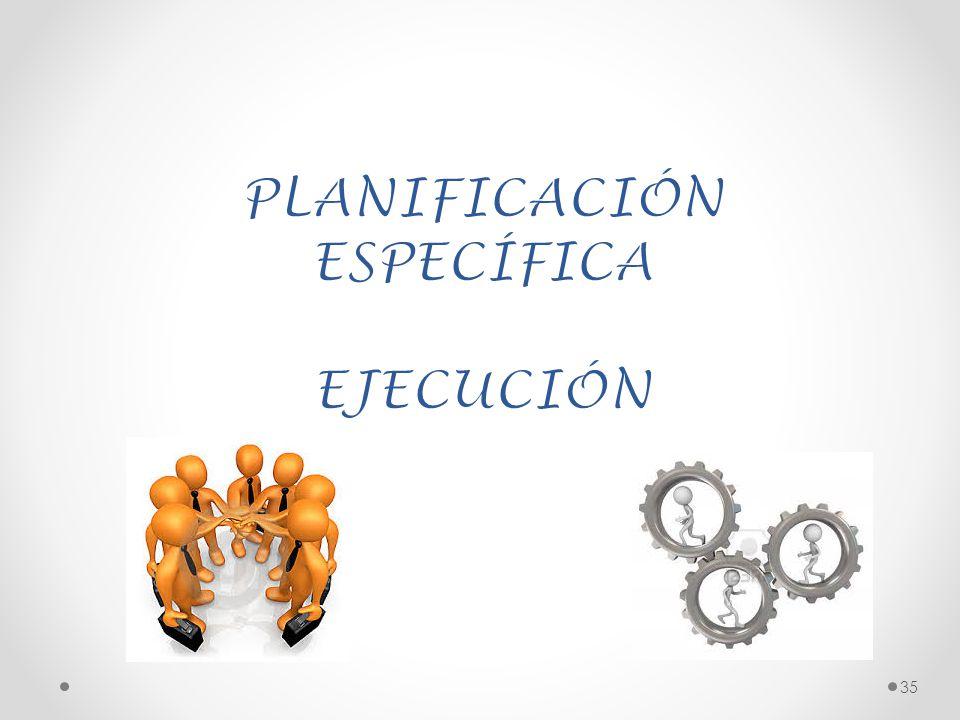 PLANIFICACIÓN ESPECÍFICA EJECUCIÓN