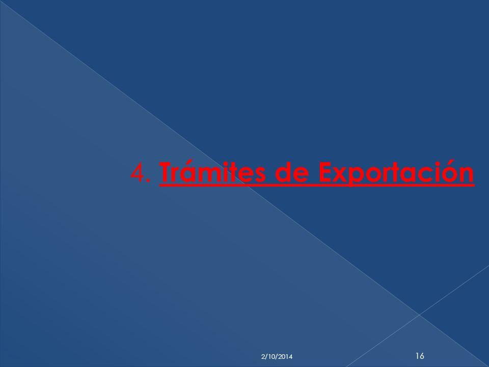 4. Trámites de Exportación