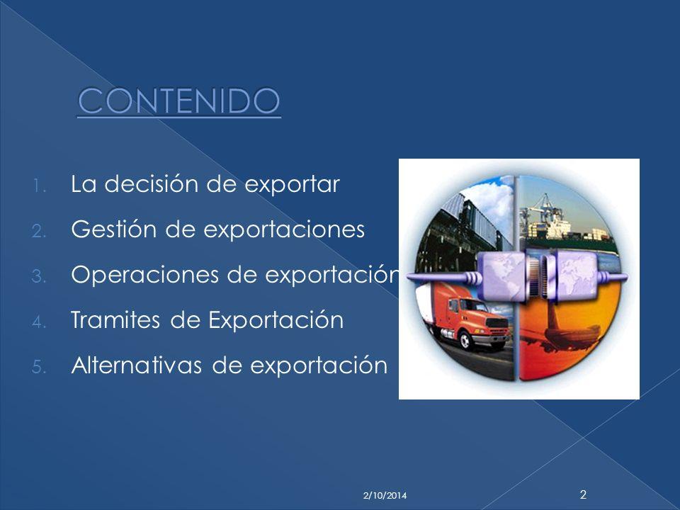CONTENIDO La decisión de exportar Gestión de exportaciones