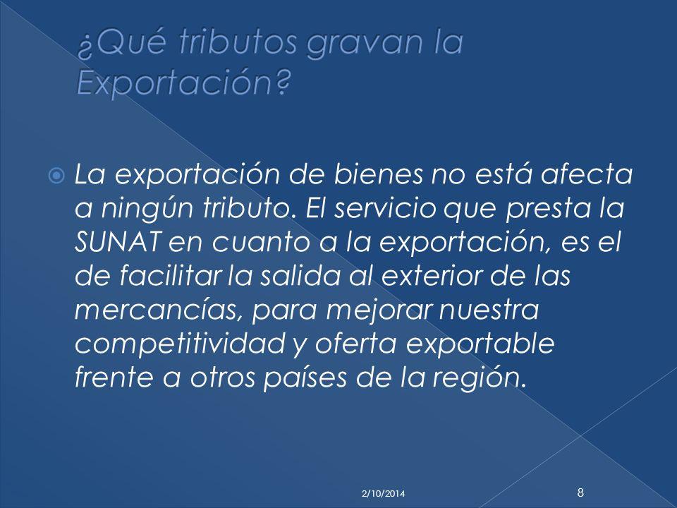 ¿Qué tributos gravan la Exportación