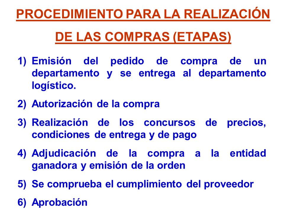 PROCEDIMIENTO PARA LA REALIZACIÓN DE LAS COMPRAS (ETAPAS)