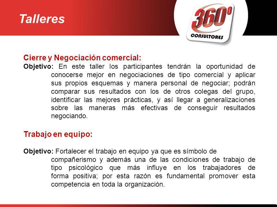 Talleres Cierre y Negociación comercial: Trabajo en equipo: