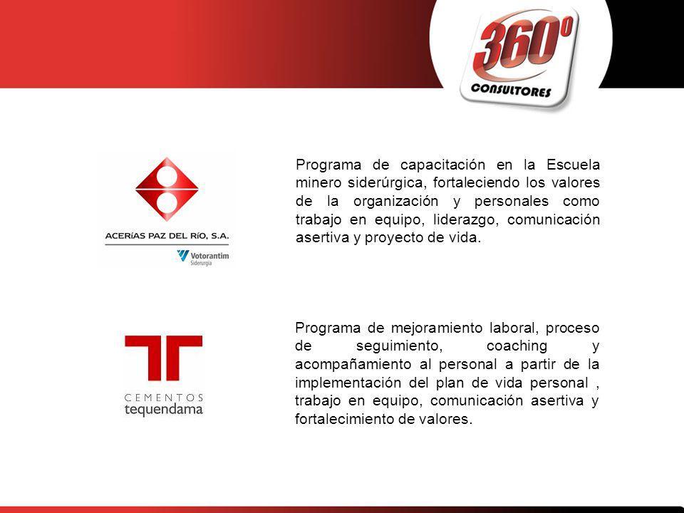Programa de capacitación en la Escuela minero siderúrgica, fortaleciendo los valores de la organización y personales como trabajo en equipo, liderazgo, comunicación asertiva y proyecto de vida.