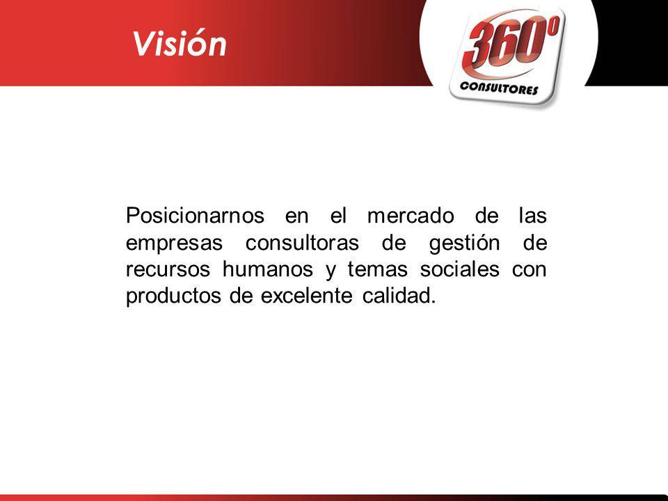 Visión Posicionarnos en el mercado de las empresas consultoras de gestión de recursos humanos y temas sociales con productos de excelente calidad.