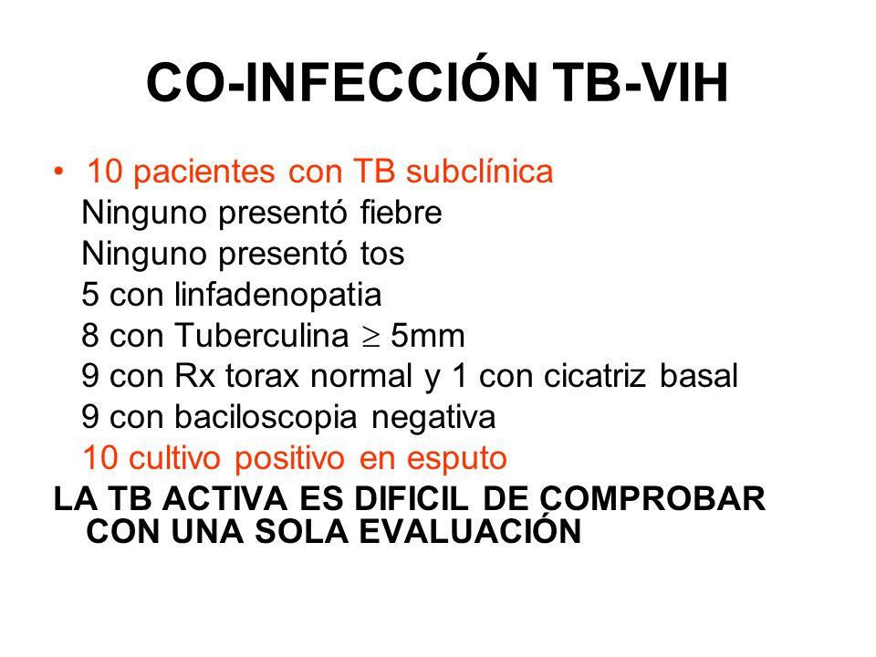 CO-INFECCIÓN TB-VIH 10 pacientes con TB subclínica