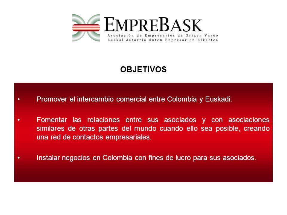 OBJETIVOS Promover el intercambio comercial entre Colombia y Euskadi.