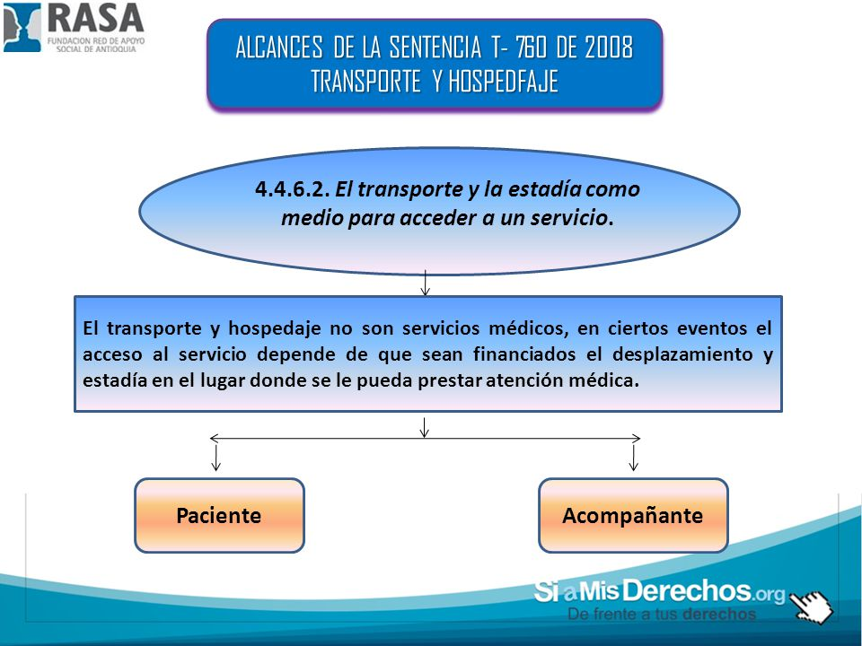 ALCANCES DE LA SENTENCIA T- 760 DE 2008 TRANSPORTE Y HOSPEDFAJE
