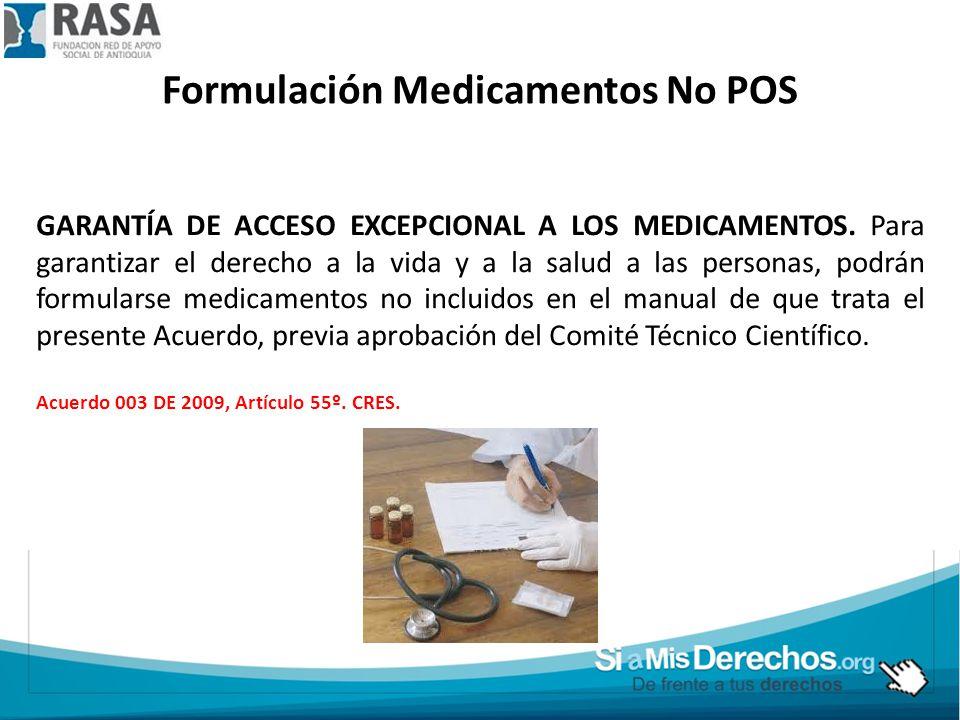 Formulación Medicamentos No POS