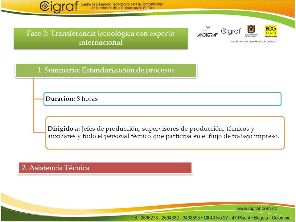 Fase 3: Transferencia tecnológica con experto internacional