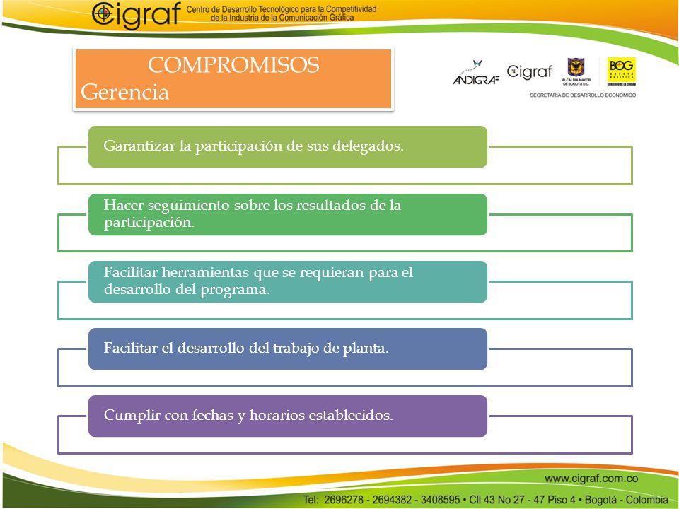 COMPROMISOS Gerencia Garantizar la participación de sus delegados.