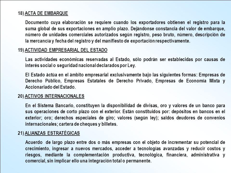 18) ACTA DE EMBARQUE