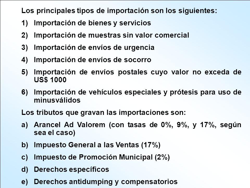 Los principales tipos de importación son los siguientes: