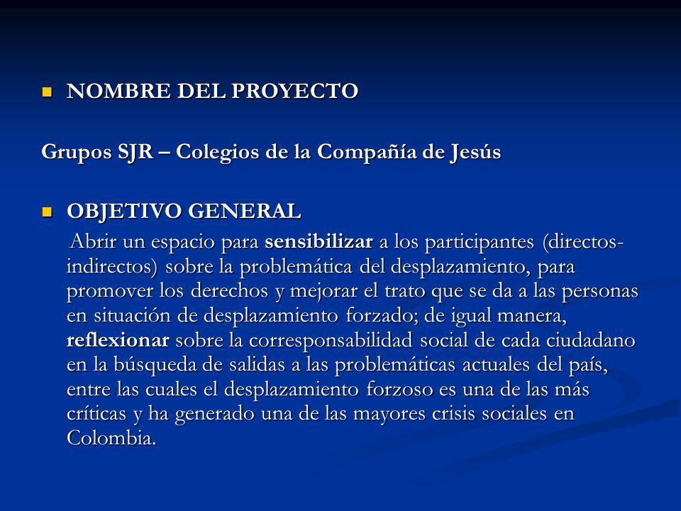NOMBRE DEL PROYECTO Grupos SJR – Colegios de la Compañía de Jesús. OBJETIVO GENERAL.