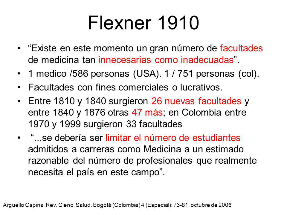 Flexner 1910 Existe en este momento un gran número de facultades de medicina tan innecesarias como inadecuadas .
