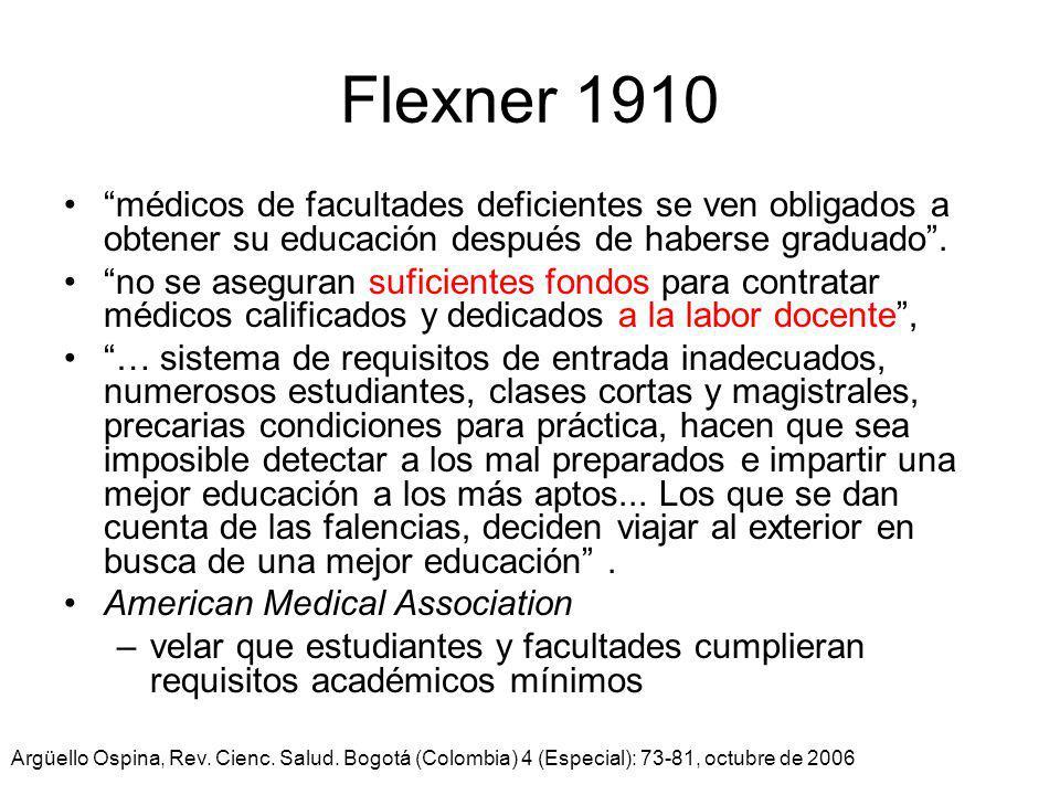 Flexner 1910 médicos de facultades deficientes se ven obligados a obtener su educación después de haberse graduado .