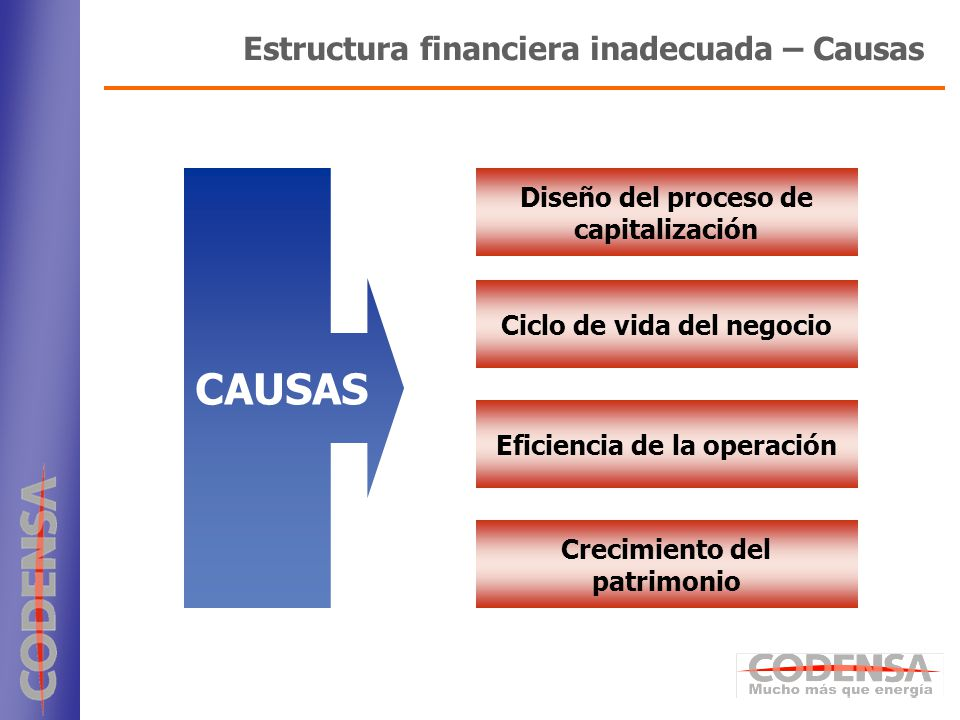 CAUSAS Estructura financiera inadecuada – Causas