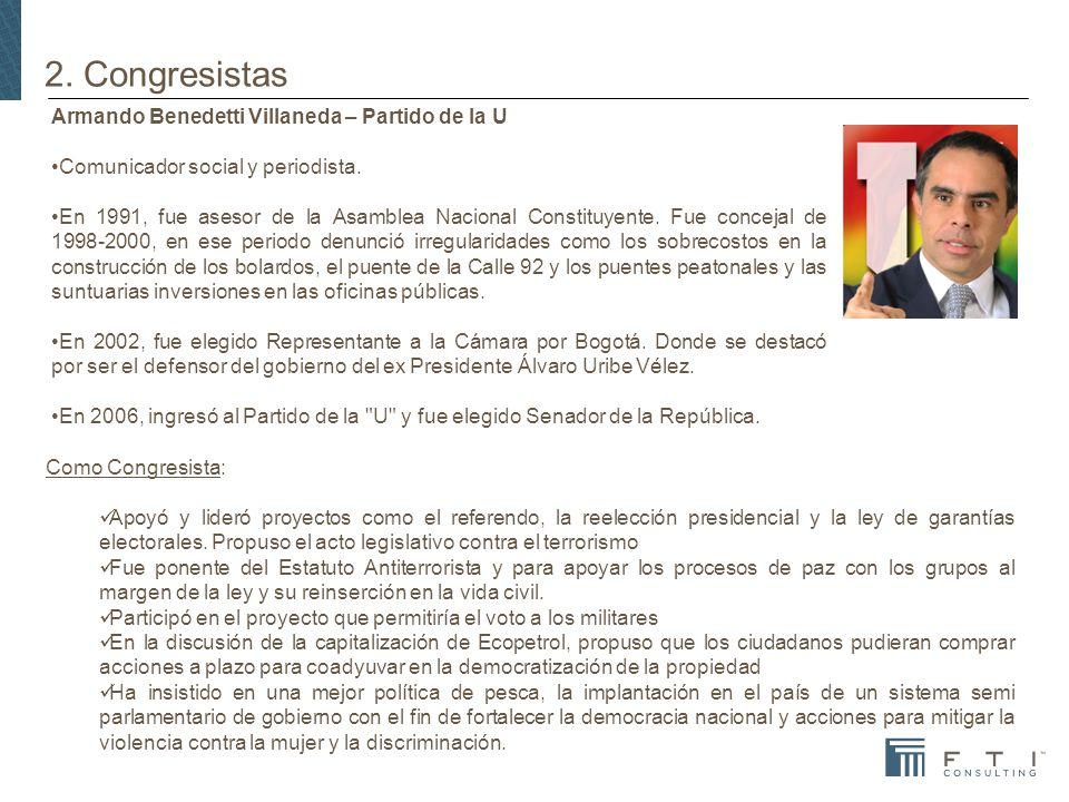 2. Congresistas Armando Benedetti Villaneda – Partido de la U