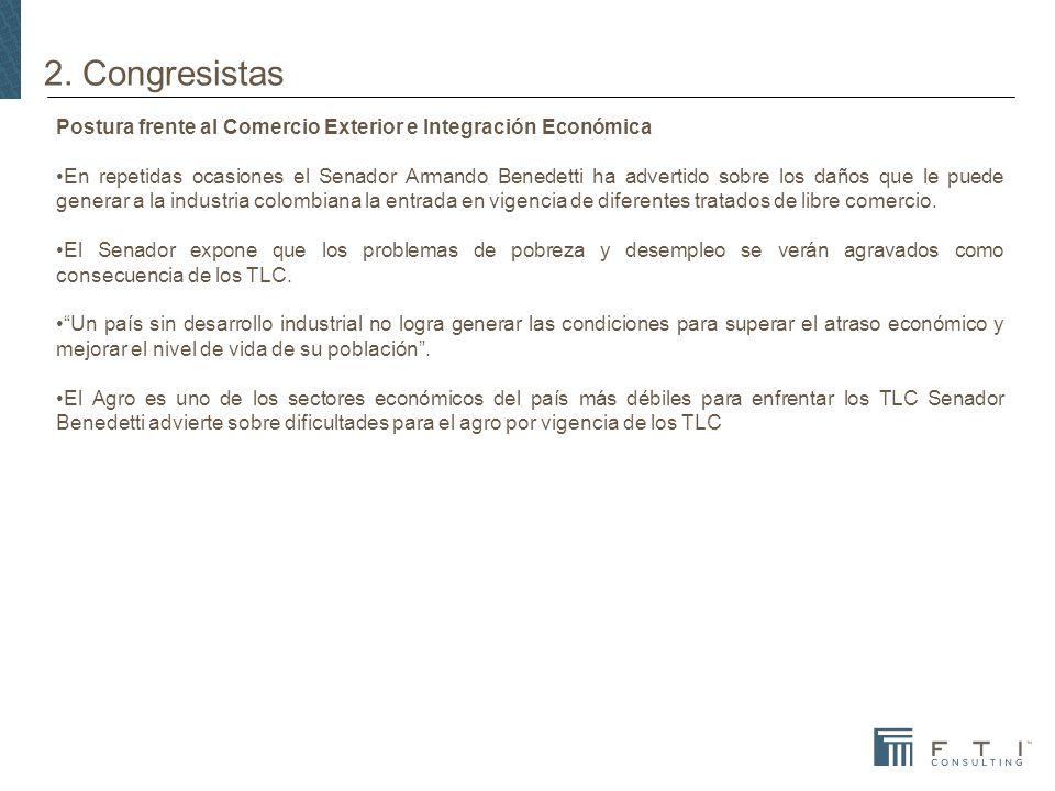 2. Congresistas Postura frente al Comercio Exterior e Integración Económica.