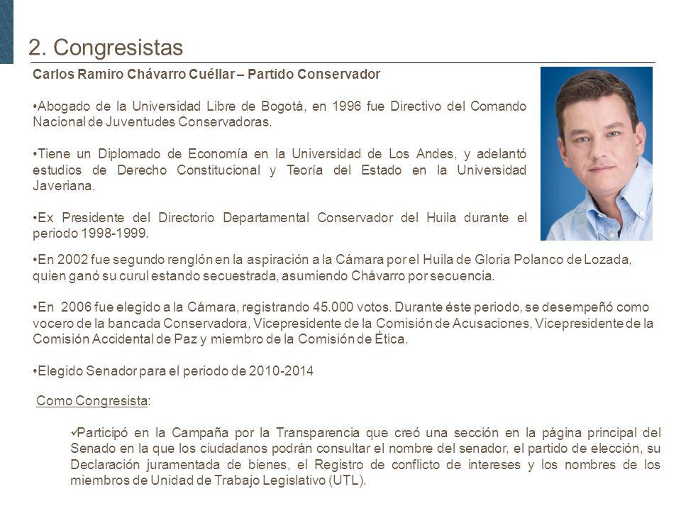 2. Congresistas Carlos Ramiro Chávarro Cuéllar – Partido Conservador