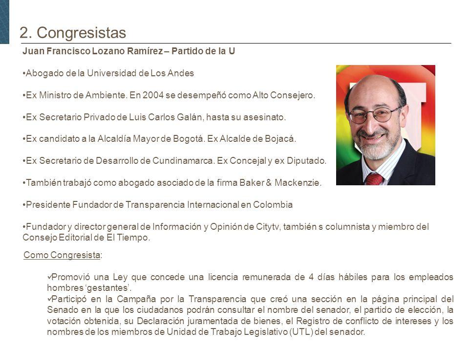 2. Congresistas Juan Francisco Lozano Ramírez – Partido de la U