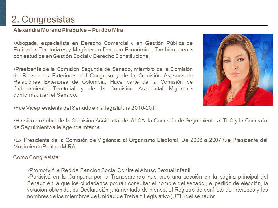 2. Congresistas Alexandra Moreno Piraquive – Partido Mira