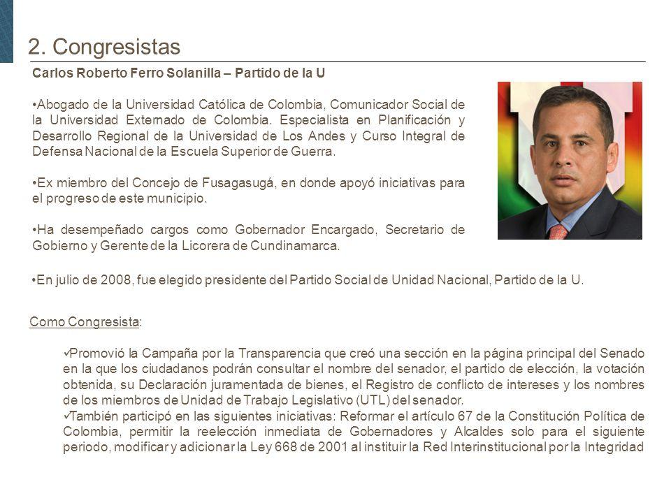 2. Congresistas Carlos Roberto Ferro Solanilla – Partido de la U