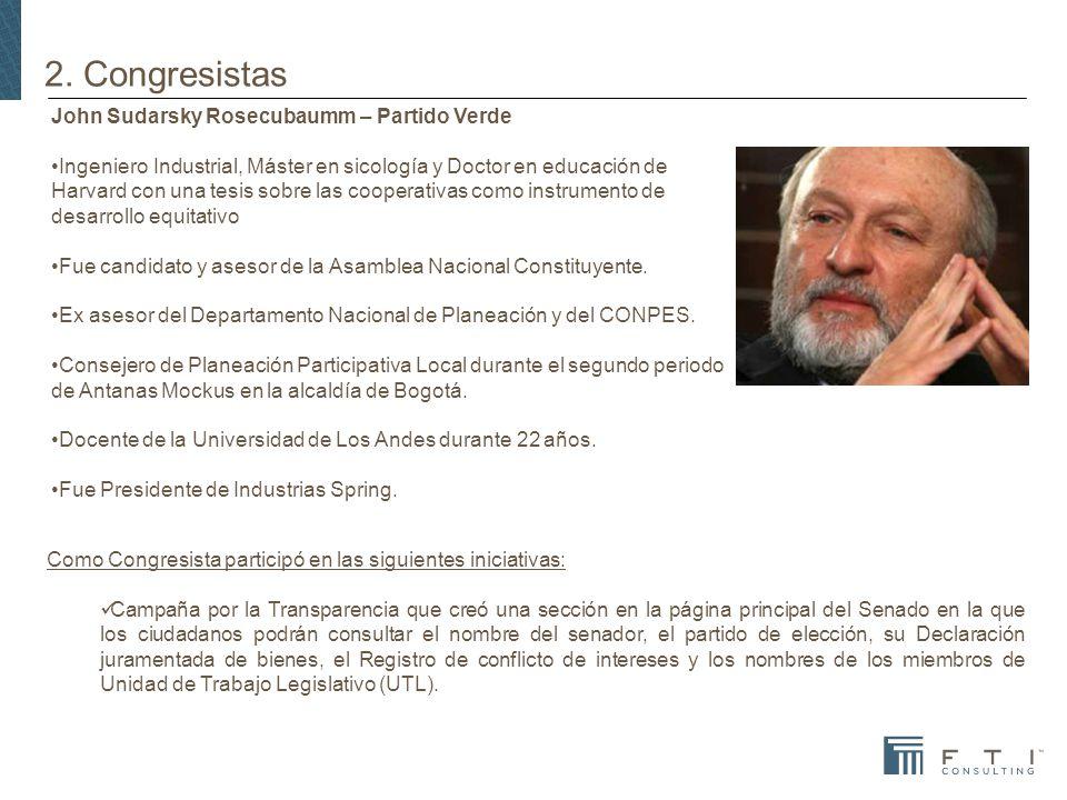 2. Congresistas John Sudarsky Rosecubaumm – Partido Verde