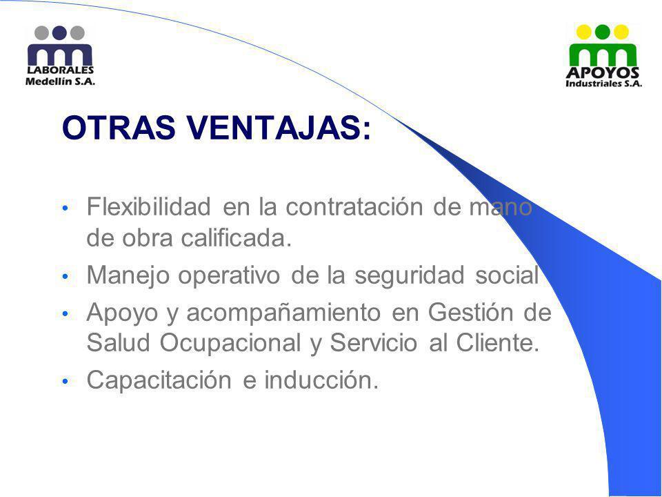 OTRAS VENTAJAS: Flexibilidad en la contratación de mano de obra calificada. Manejo operativo de la seguridad social.