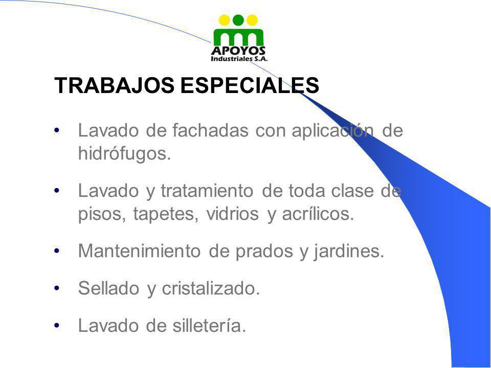 TRABAJOS ESPECIALES Lavado de fachadas con aplicación de hidrófugos.