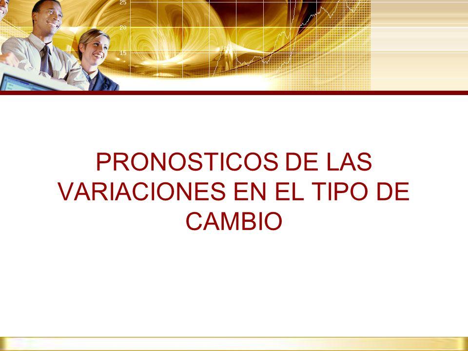 PRONOSTICOS DE LAS VARIACIONES EN EL TIPO DE CAMBIO