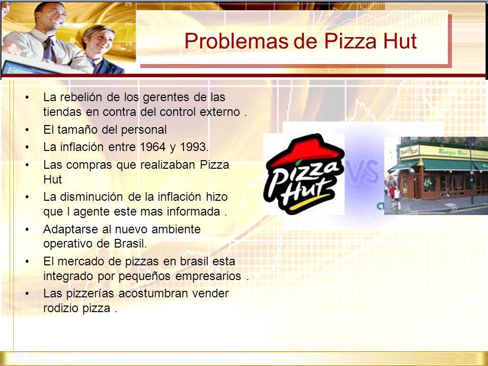 Problemas de Pizza HutLa rebelión de los gerentes de las tiendas en contra del control externo . El tamaño del personal.