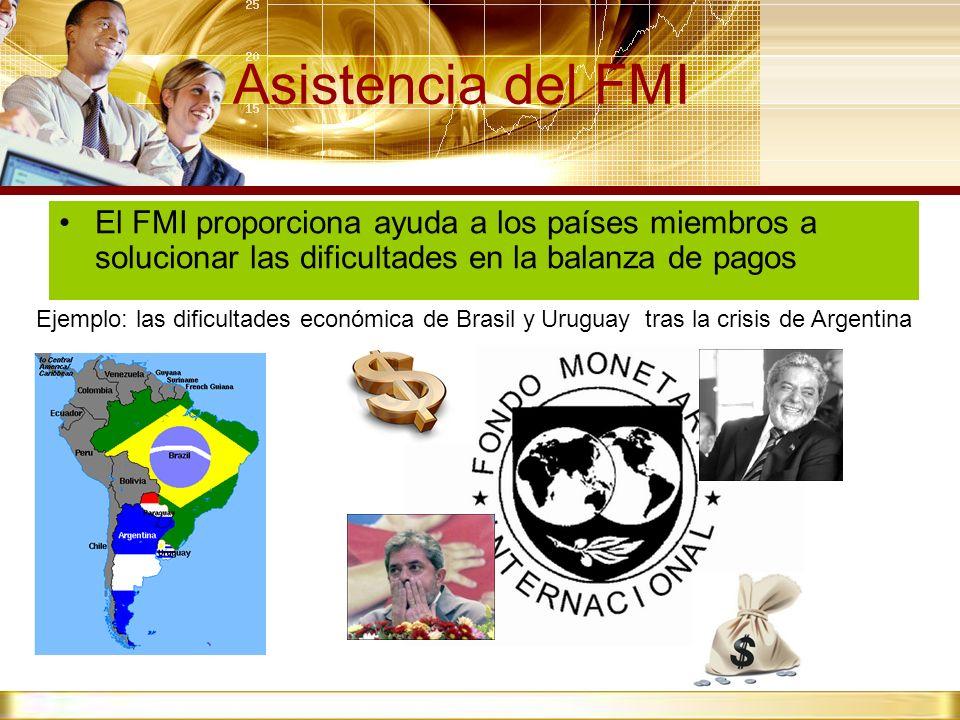 Asistencia del FMI El FMI proporciona ayuda a los países miembros a solucionar las dificultades en la balanza de pagos.