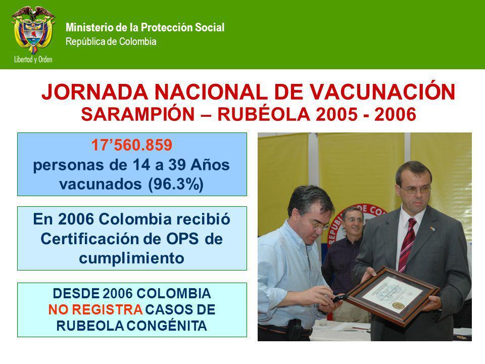 JORNADA NACIONAL DE VACUNACIÓN SARAMPIÓN – RUBÉOLA 2005 - 2006