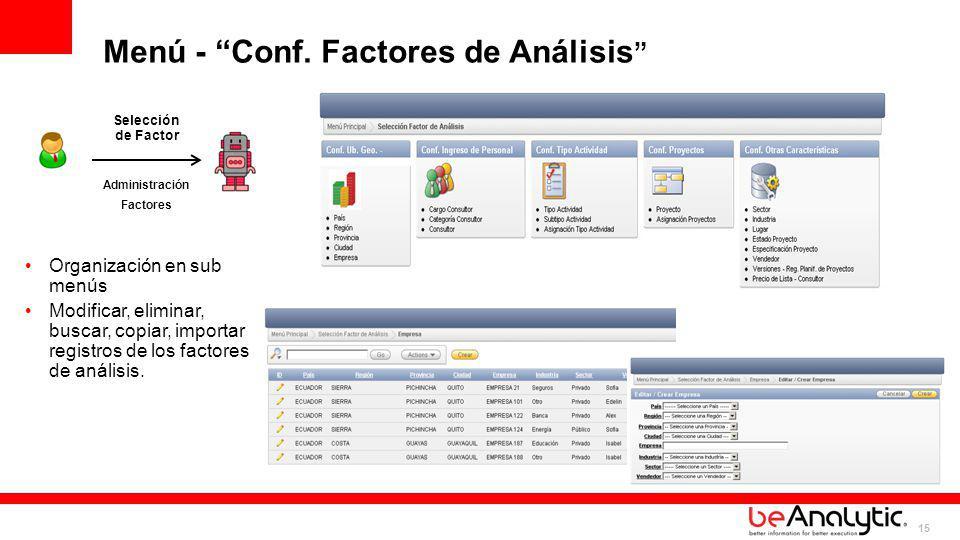 Menú - Conf. Factores de Análisis