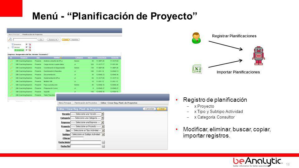 Registrar Planificaciones Importar Planificaciones
