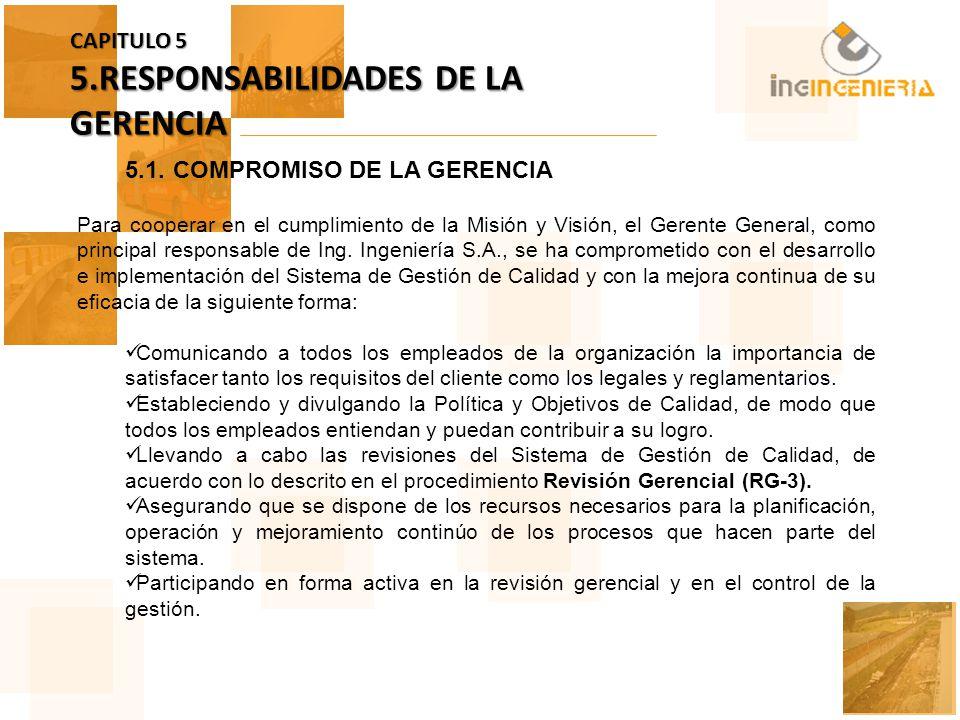 CAPITULO 5 5.RESPONSABILIDADES DE LA GERENCIA