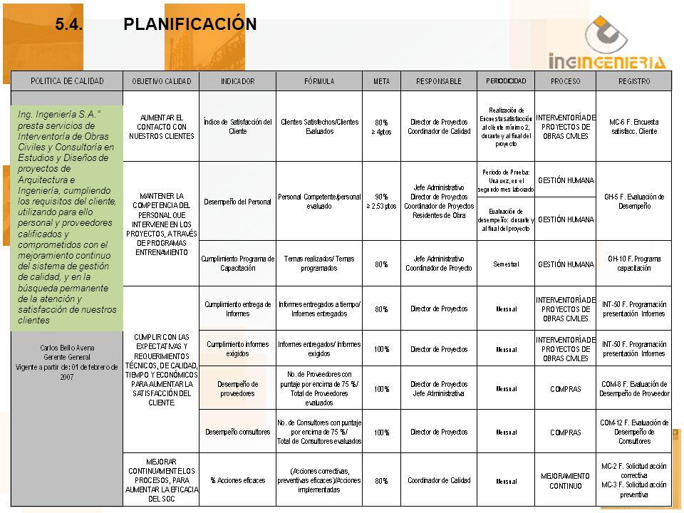 5.4. PLANIFICACIÓN