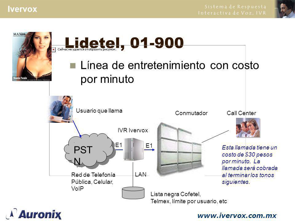 Lidetel, 01-900 Línea de entretenimiento con costo por minuto PSTN