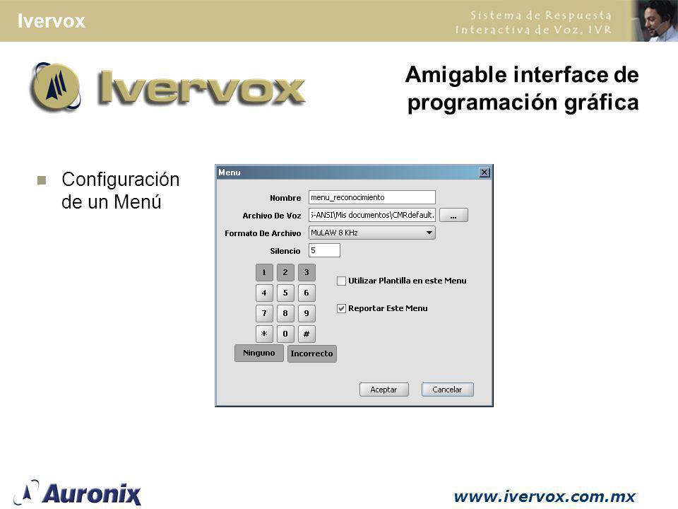Amigable interface de programación gráfica Configuración de un Menú