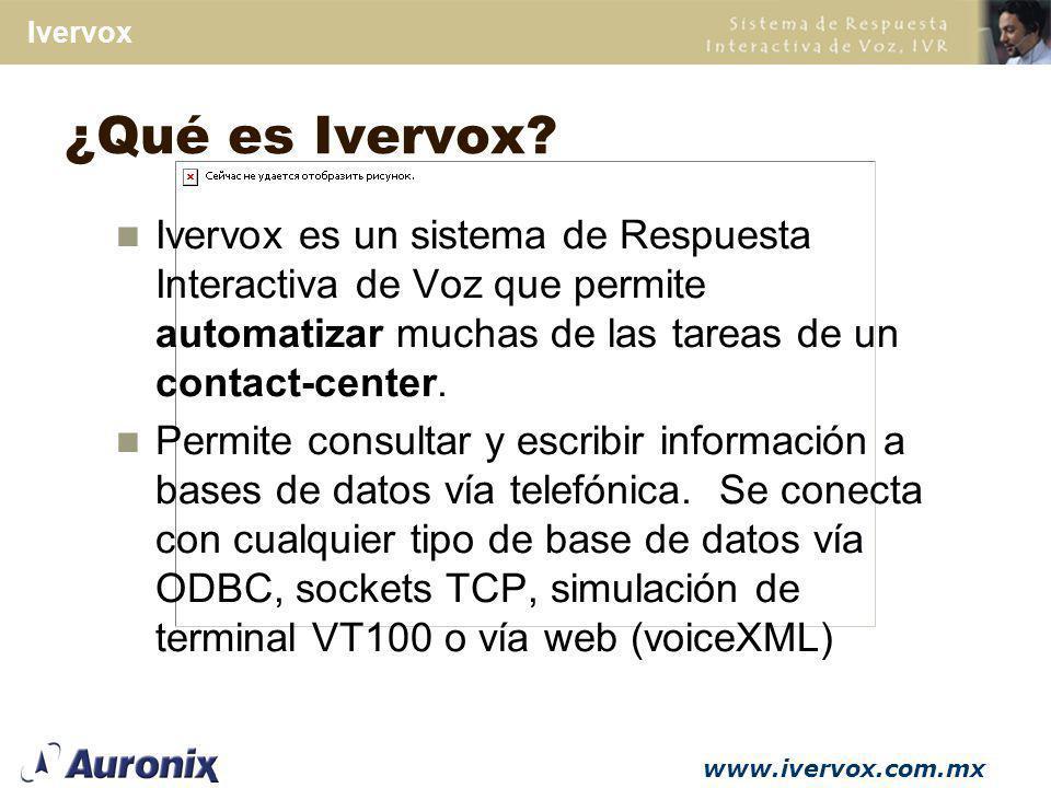 ¿Qué es Ivervox Ivervox es un sistema de Respuesta Interactiva de Voz que permite automatizar muchas de las tareas de un contact-center.