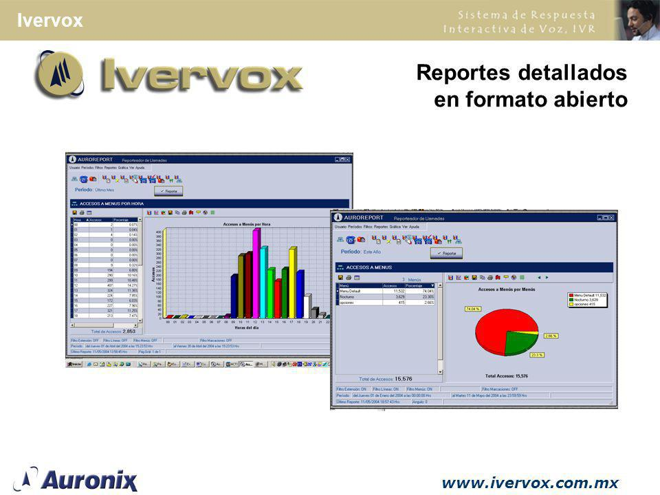 Reportes detallados en formato abierto