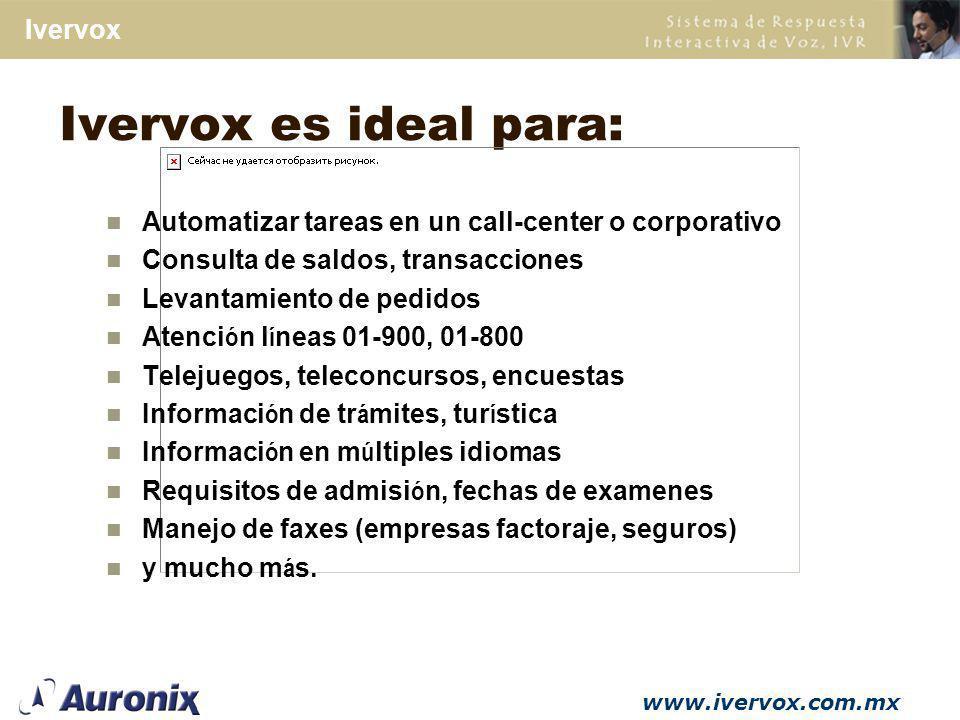 Ivervox es ideal para: Automatizar tareas en un call-center o corporativo. Consulta de saldos, transacciones.
