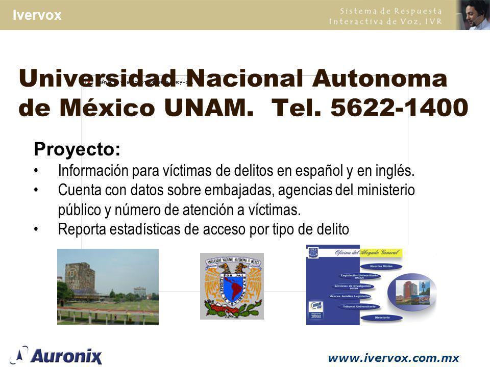 Universidad Nacional Autonoma de México UNAM. Tel. 5622-1400