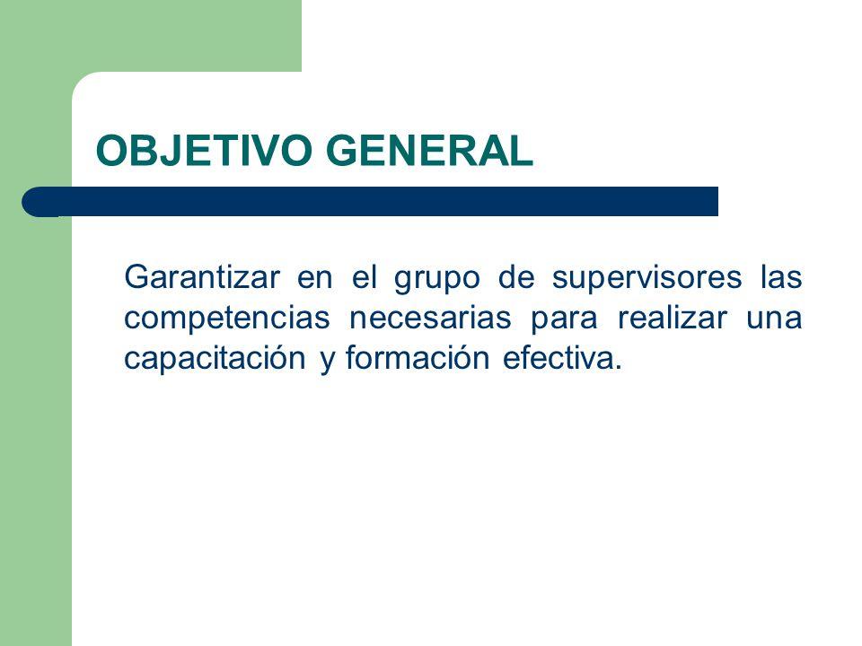 OBJETIVO GENERAL Garantizar en el grupo de supervisores las competencias necesarias para realizar una capacitación y formación efectiva.